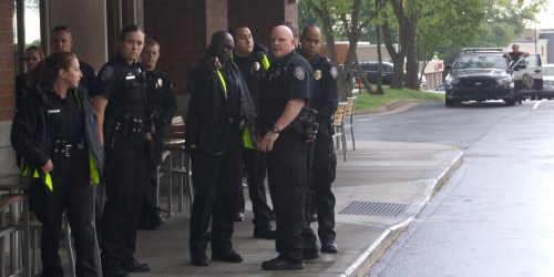 Greensboro police respond to a protest earlier this year.