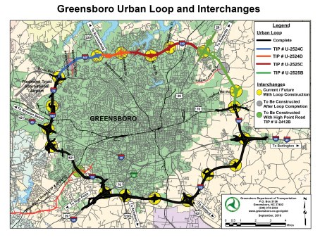 Most of Greensboro's urban loop is already completed. When it's done, residents on the north side of town will have faster access to the highway and the airport.