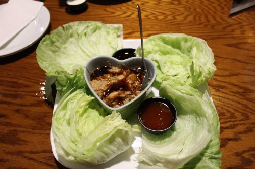 The lettuce wraps with minced chicken