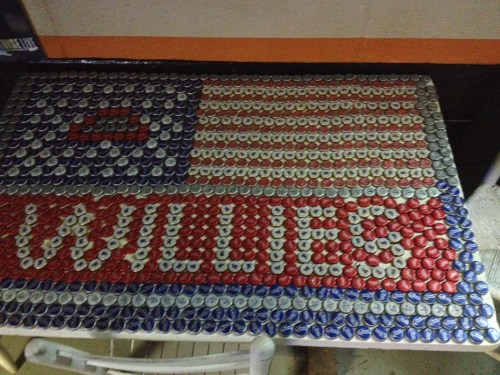 A table top at Willie's, made of bottle caps