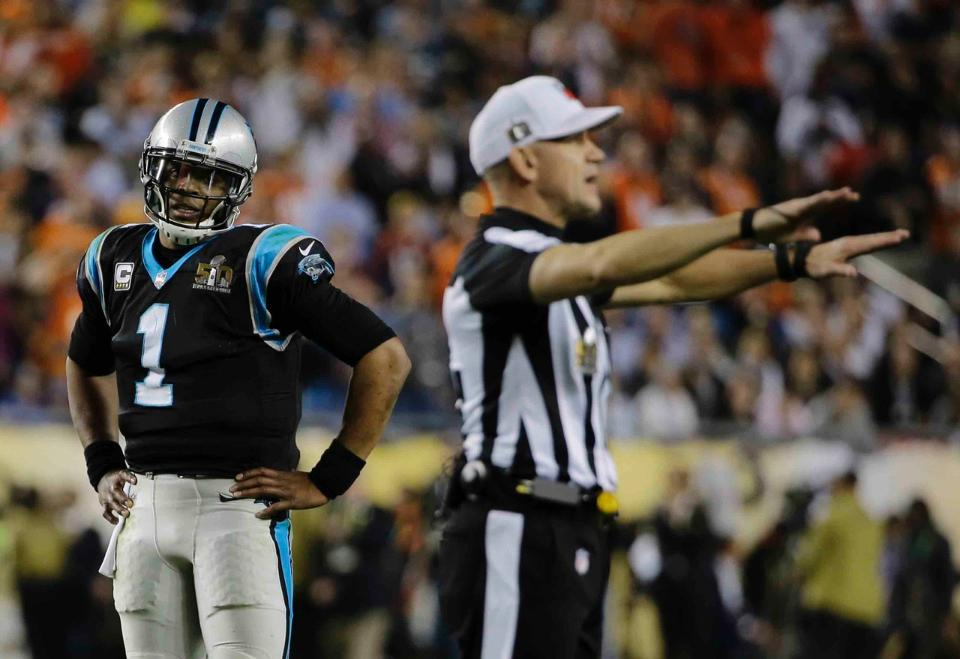 Clete Blakeman, foreground, Super Bowl 50 MVP for the Denver Broncos