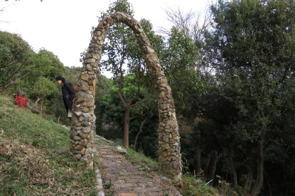 One of many whimsical stone arches throughout the property.