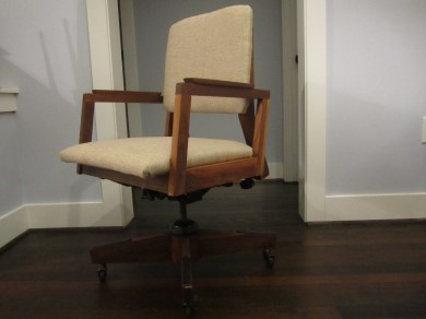 reupholstered walnut office chair