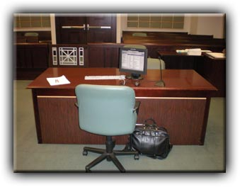 Desk with single legal pad