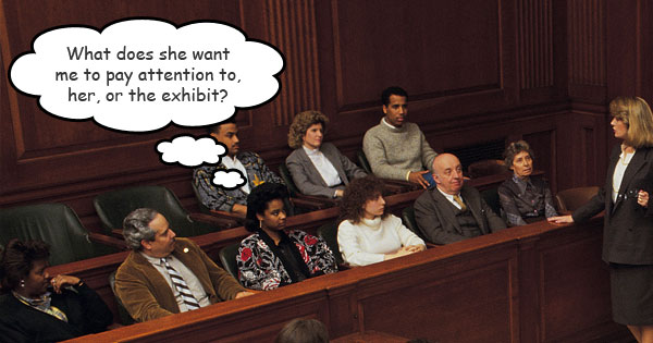 Don't ask jurors to divide their attention between you and your exhibit. You'll both lose.