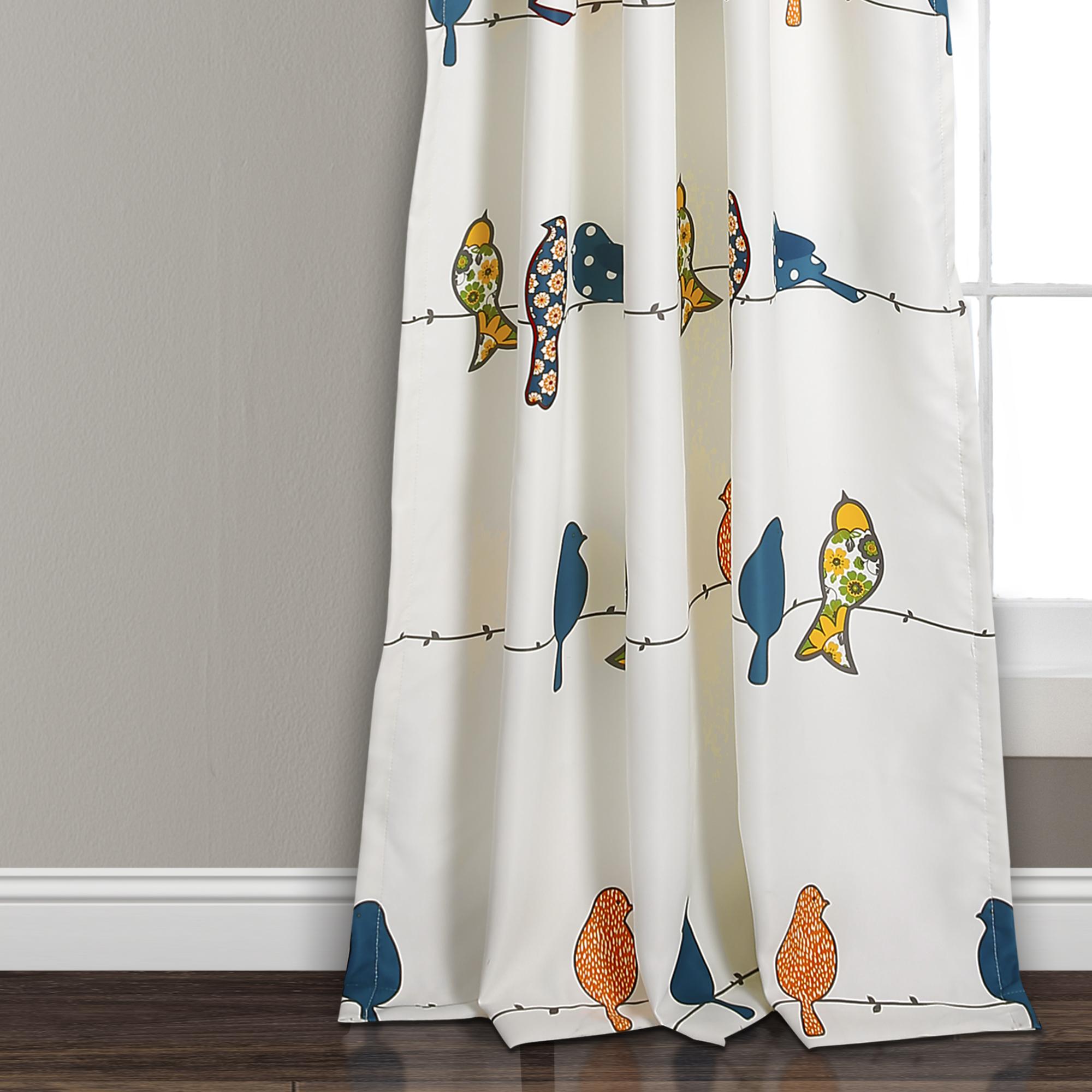 Rowley Birds Room Darkening Window Curtain Panels BlushGray Set 52X842 EBay