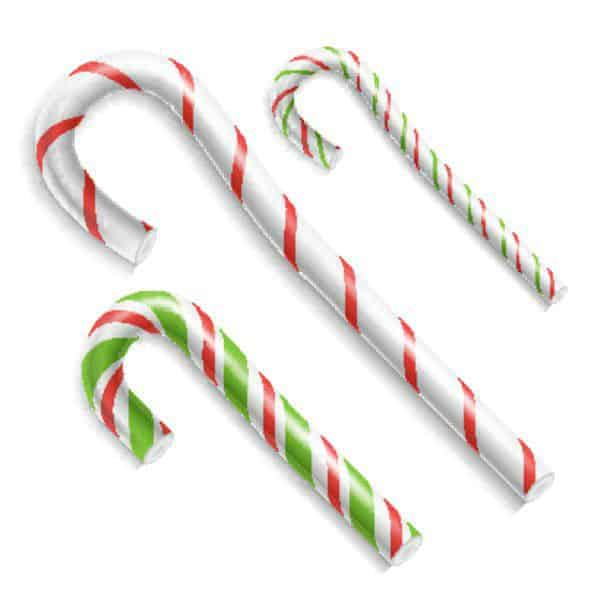 Candy Cane Vector Christmas Candy Cane Realistic Set Isolated Top View Xmas Banner And New Year Design Concept Illustration 3D Xmas Candy Cane Se