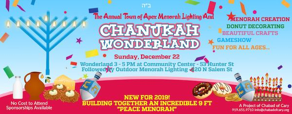 Apex Chanukah Celebrations: Chanukah Wonderland and Outdoor Menorah Lighting