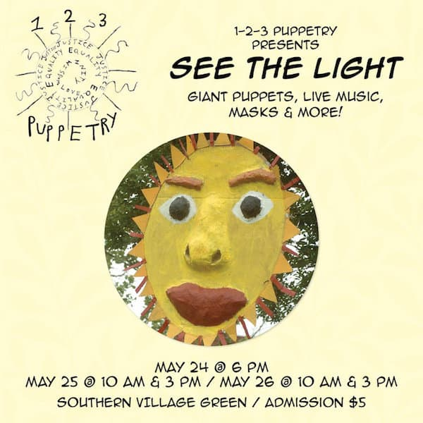 poster for 1-2-3 puppetry show in southern village, chapel hill, with picture of a sun puppet