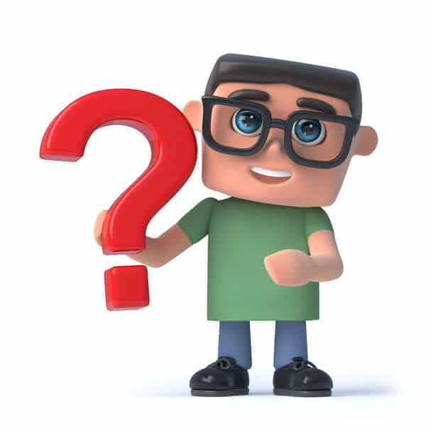 3D Render Of A Boy Wearing Spectacles Holding A Red Question Mark