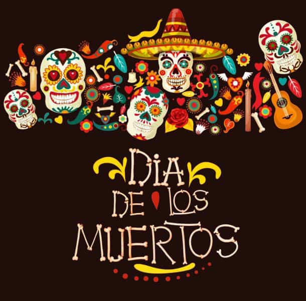 Dia De Los Muertos Greeting Card For Mexican Traditional Holiday Or Day Of Dead Celebration Vector Cartoon Skeleton Skulls In Sombrero With Mexico Or
