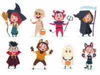 Halloween Kids Cartoon Children In Halloween Costumes Funny Girls And Boys At Party Vector Isolated Charactres Illustration Of Girl And Boy Costume