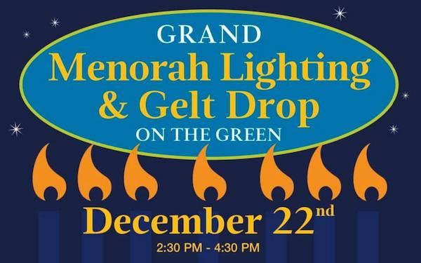 Menorah Lighting and Gelt Drop at Lafayette Village in Raleigh