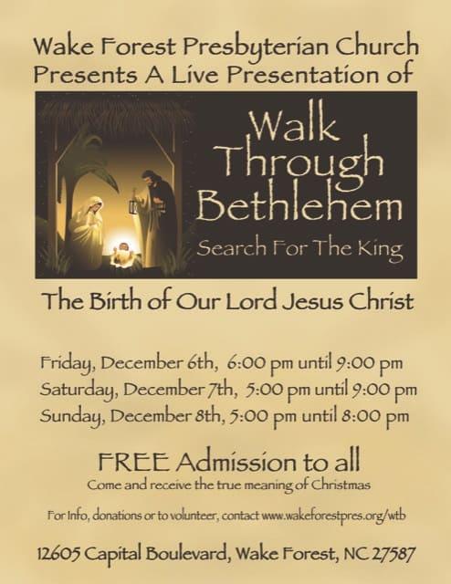 Church In Bethlehem Nc That Does Christmas Events 2020 Walk Through Bethlehem at Wake Forest Presbyterian Church