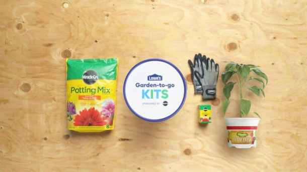 Garden kit with potting mix, gloves, and plant