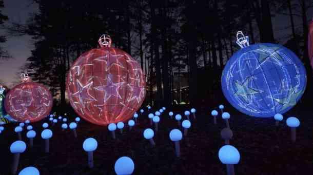 Large illuminated ornaments at North Carolina Chinese Lantern Festival