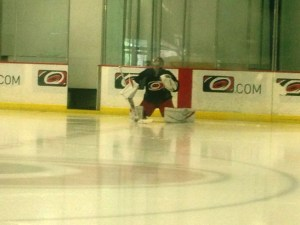 Cam Ward preps for an informal on-ice session - Peter Koutroumpis, Triangle Sports Network