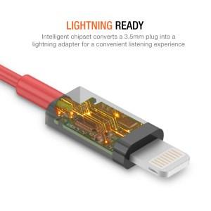 iPhone Lightning to 35mm Headphone Jack HIFI Adapter – Red