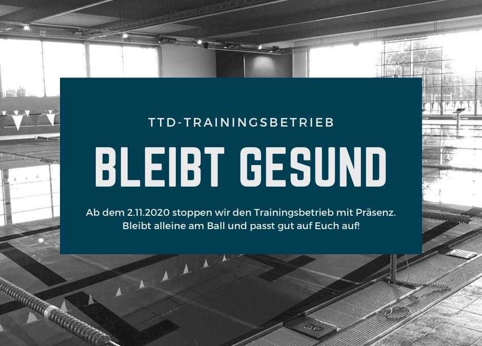 Einstellung Trainingsbetrieb ab 02.11.