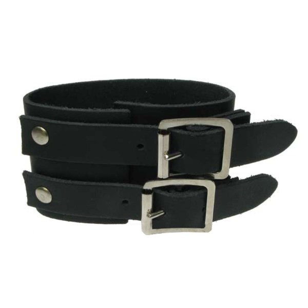 3 Row Width Plain Leather Wristband Gauntlet Bullet 69
