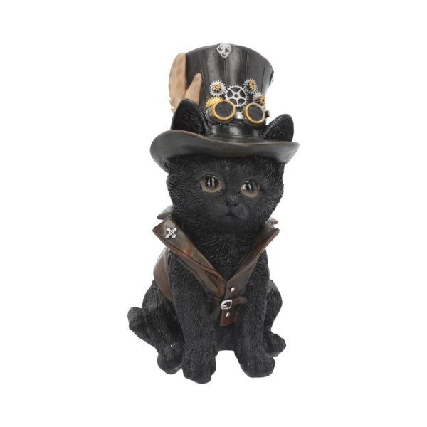 Cogsmiths Cat Steampunk Puppy Waistcoat Leather Resin Goggles Top Hat Inventor Nemesis Now