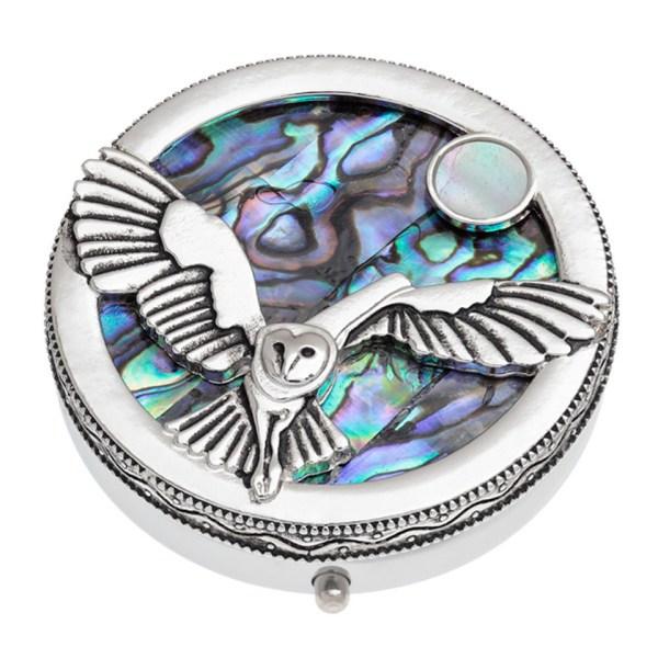 Paua Shell Blue Purple Green Pink Owl & Moon Pill Box Animal Bird Rhodium Tide Jewellery Talbot Fashions Organic New Zealand Sea Opal