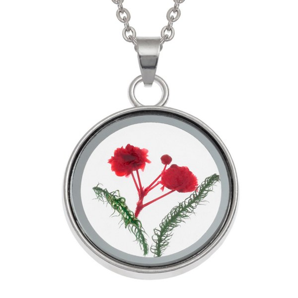 Wish Jewellery Pressed Dried Red Flower Charm Rhodium Pendant Necklace Chain Talbot Fashions Plant Nature