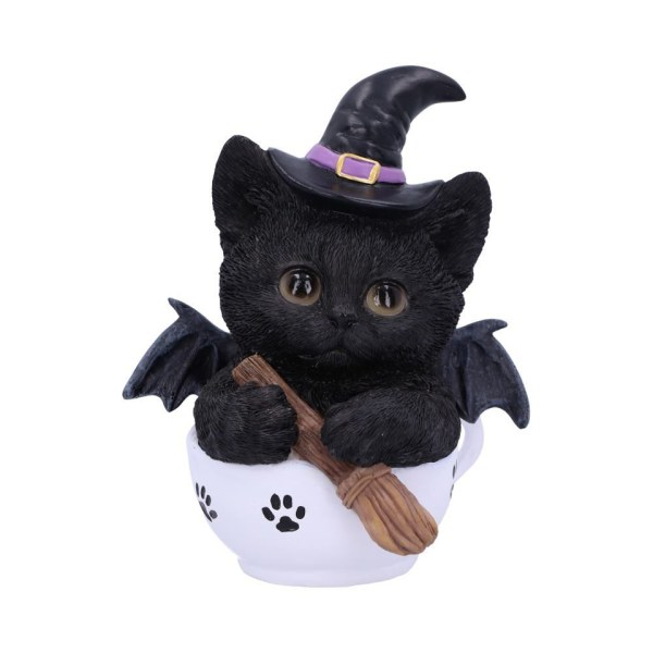 Kit-Tea Cat Ornament Figure Home Decor Kitten Witch Familiar Broomstick Bat Tea Occult Spiritual Nemesis Now