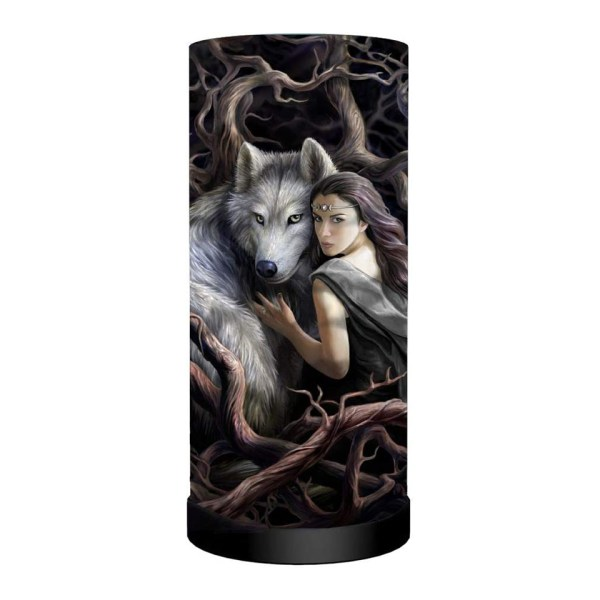 Soul Bond Cylindrical Round Table Lamp Light Mains Powered Nemesis Now Wolves Wolf Anne Stokes