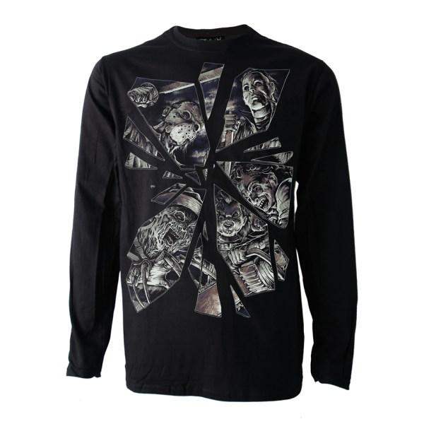 Broken Horror Mirror Long Sleeve T-Shirt Darkside Clothing Alternative Mike Myers Freddy Kreuger Jason Leatherface Chucky