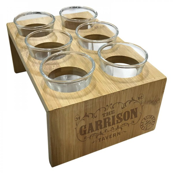 Peaky Blinders Garrison's Tavern Shot Glass Set With Wood Stand Iconic British Gangster TV
