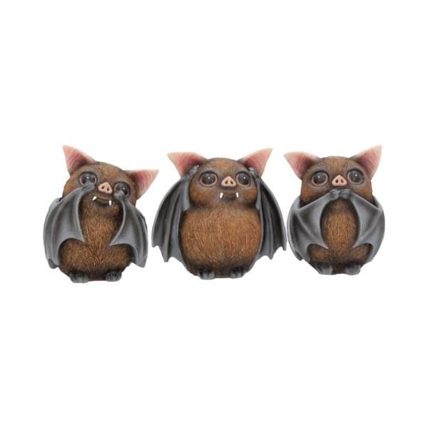 Three Wise Bats Confucius Figures See No Evil Hear No Evil Speak No Evil Nemesis Now