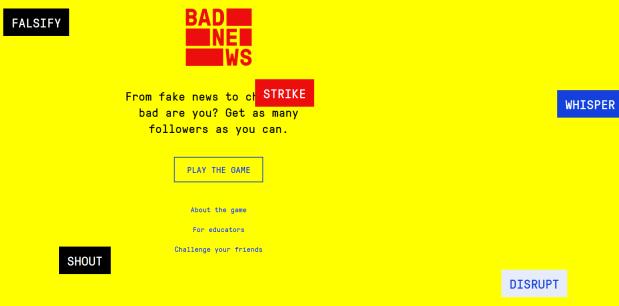 Pantalla principal del juego Bad News con el que aprender sobre la desinformación.