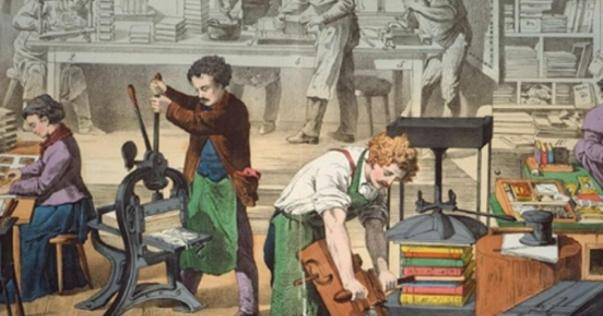 Imagen de un taller de principios del siglo XVIII.