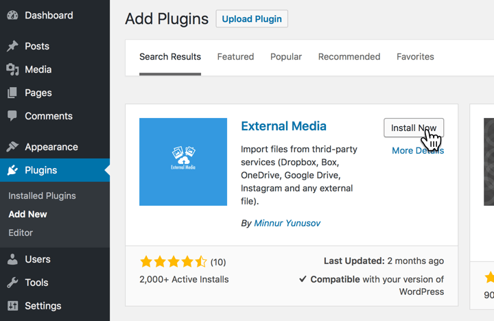 Install the External Media plugin