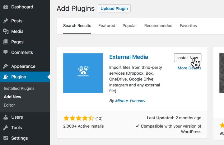 Install the External Media plugin