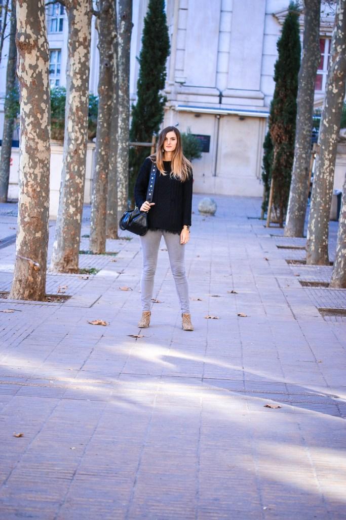 blog mode pull noir bottines léopard