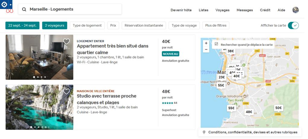 screenshot airbnb recherche