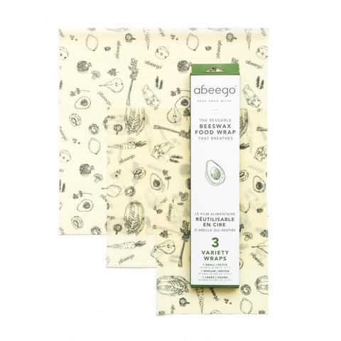 Set 3 emballages alimentaires réutilisables Abeego Aux oubliettes le film alimentaire jetable ! Durables, flexibles, ces emballages sont LA solution ! Réalisés à partir de chanvre et de coton bio infusés dans un mélange de cire d'abeille pure, d'huile de jojoba bio et de résine d'arbre.