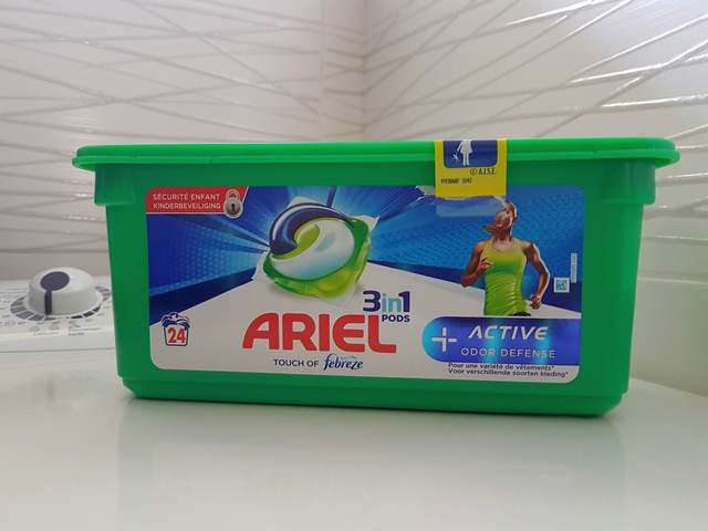 ariel 3 en 1 pods active odor defense