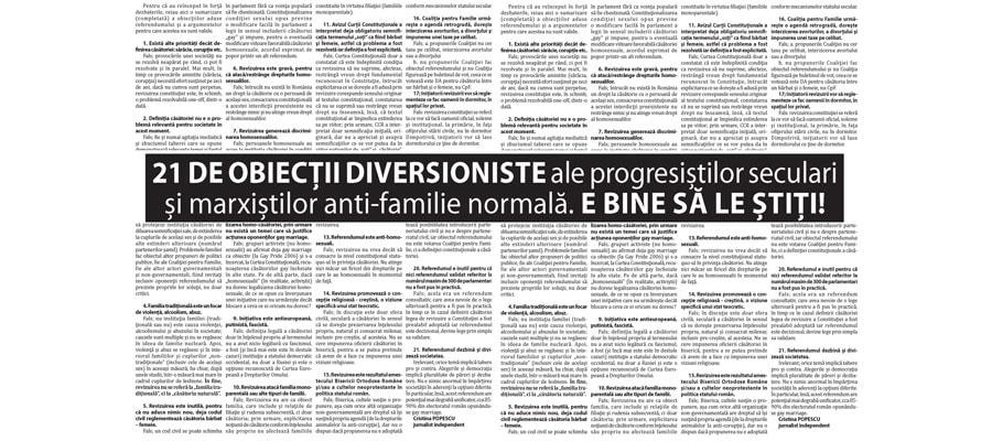 21 DE OBIECȚII DIVERSIONISTE ale progresiștilor seculari și marxiștilor anti-familie normală. E BINE SĂ LE ȘTIȚI!