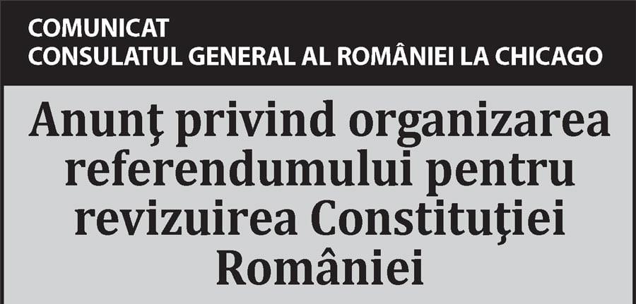 COMUNICAT – Anunţ privind organizarea referendumului pentru revizuirea Constituţiei României