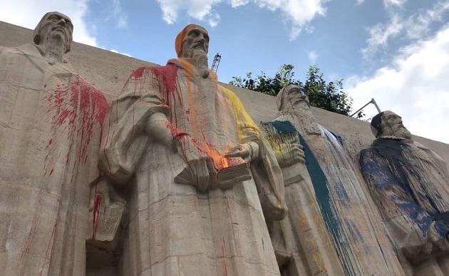 Activiștii lgbt au vandalizat Monumentul Reformei din Geneva