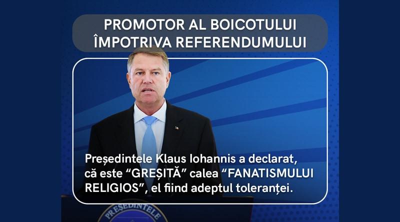 Klaus Iohannis, promotor al boicotului împotriva referendumului