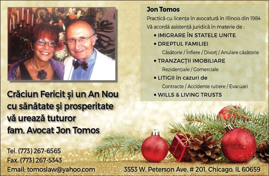Avocat Jon Tomos: Crăciun Fericit și un An Nou cu sănătate și prosperitate
