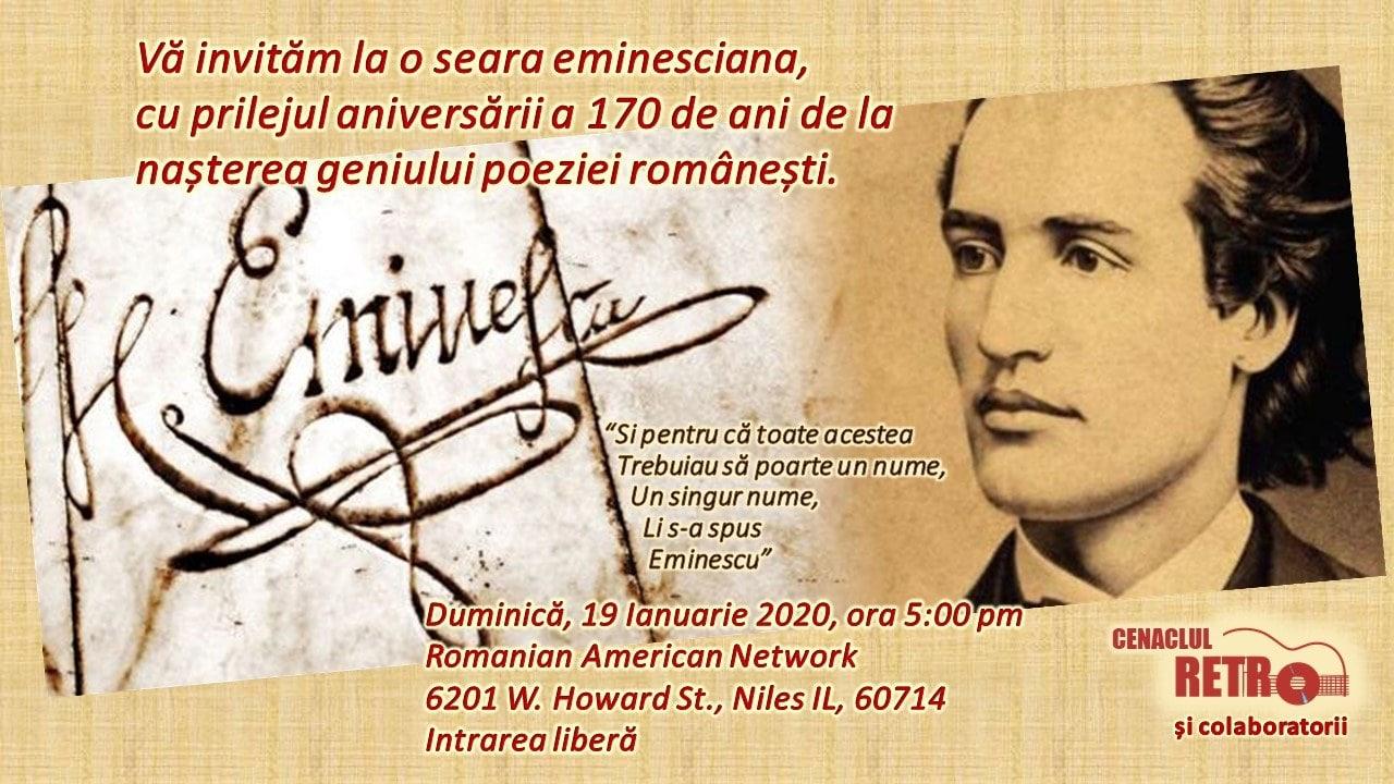 Cenaclul RETRO vă invită la o seară eminesciană – Duminică 19 ian. 2020