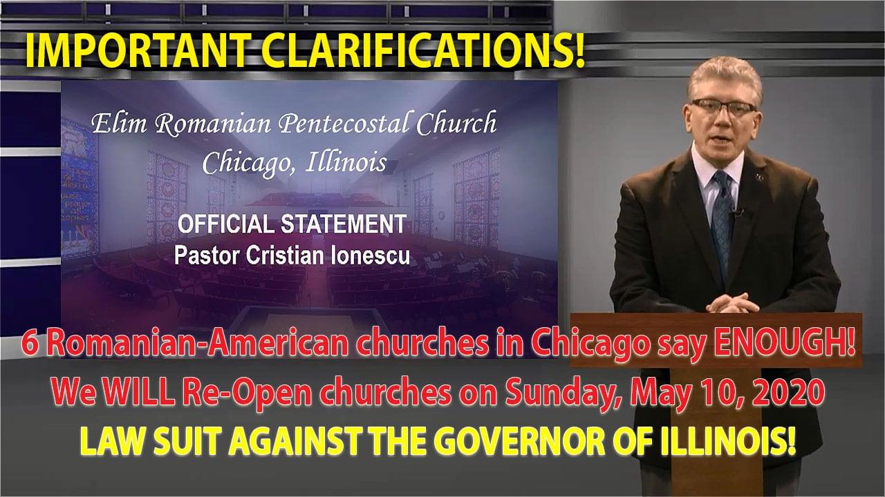 Lămuriri cu privire la acțiunea juridică a bisericilor româno-americane din Chicago împotriva guvernatorului Pritzker (VIDEO)