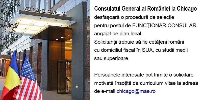 Consulatul General al României la Chicago angajează FUNCȚIONAR CONSULAR