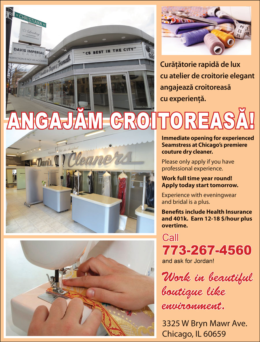 ANGAJĂM CROITOREASĂ – NOW HIRING SEAMSTRESS – Davis Imperial Cleaners