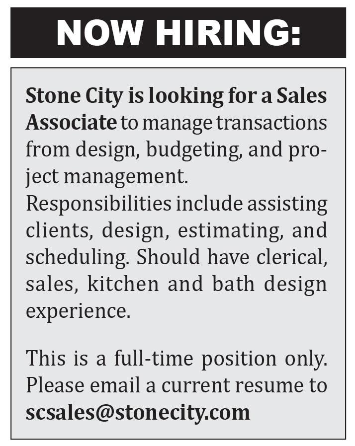 STONE CITY NOW HIRING Sales Associate